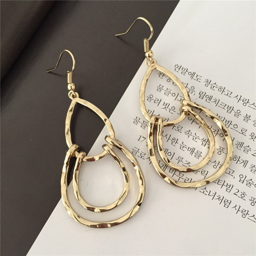 Modern Girl Decoration Gold Color Hammered Teardrop Earrings For Women