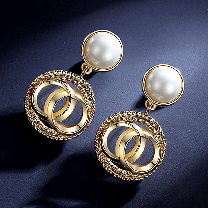Natural Freshwater Pearl Beads Gold Drop Earrings for Women
