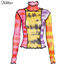 Load image into Gallery viewer, Nibber fashion mesh Colorful print Ruffle tops womens