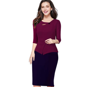 Three Quarter Zip Back Bodycon Summer Office Dress
