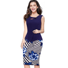 Load image into Gallery viewer, Three Quarter Zip Back Bodycon Summer Office Dress
