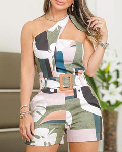 One Shoulder Knotted Detail Abstract Print Rompers