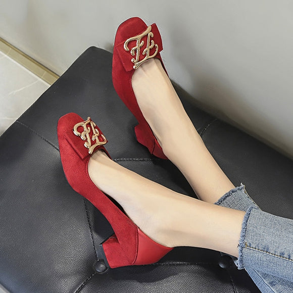 Women Pumps Faux Suede Dress Shoes