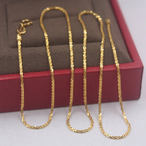 Pure 18k Yellow Gold Chain Unisex Luck 1mmW Full Star Link Chain Necklace 18inches 2.15g