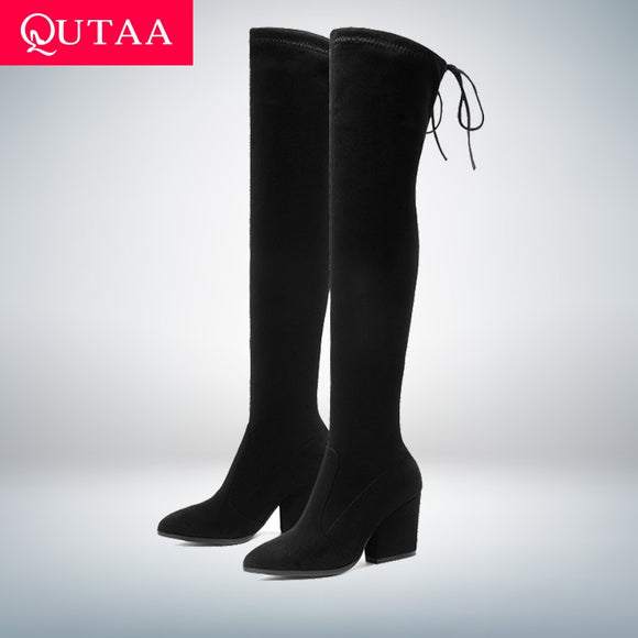 Over The Knee High Boots Pointed Toe Autumn Winter Shoes