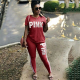 PINK Letter Print Tracksuits Women Two Piece Set