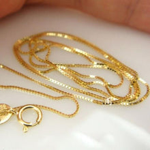 Load image into Gallery viewer, Real 18k Yellow Gold Chain Women Luck 0.5mmW Box Link Chain Necklace