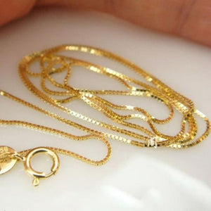 Real 18k Yellow Gold Chain Women Luck 0.5mmW Box Link Chain Necklace