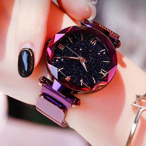 Luxury Starry Sky Women Watches Magnetic Mesh Belt Band Watch