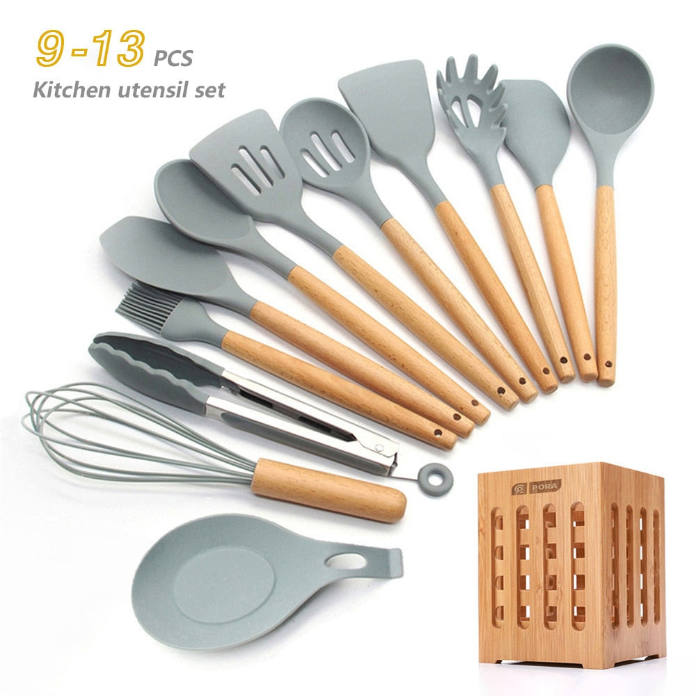 Silicone Cooking Utensils 11/12/13Pcs Kitchen Utensil Set