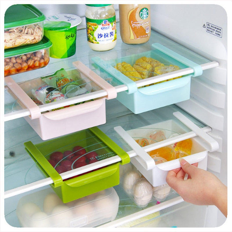 Slide Kitchen Fridge Shelf Freezer Space Saver Organization Storage Rack