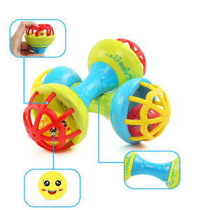 Soft Rubber Juguetes Bebe Cartoon Bee Hand Knocking Rattle Dumbbell