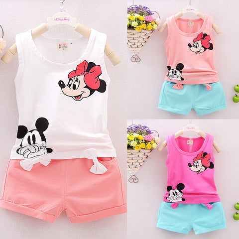 Minnie Mickey Sleeveless T-shirt Vest Tops+Short