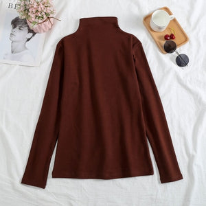 Vintage Turtleneck Plus Velvet solid Color Long Sleeve T-shirt