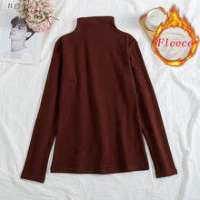 Load image into Gallery viewer, Vintage Turtleneck Plus Velvet solid Color Long Sleeve T-shirt