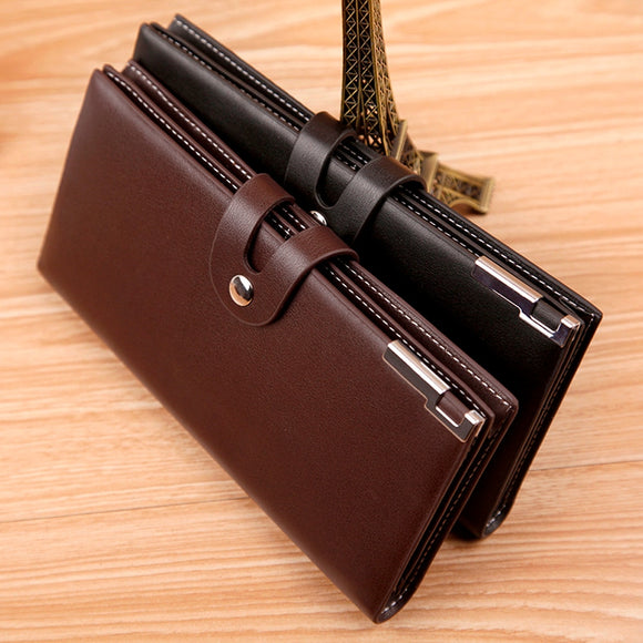 Top Quality PU Simple Men Long Section Button Bifold Business Leather Wallet Card