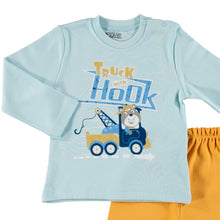 Load image into Gallery viewer, ebebek HelloBaby Printed Interlock Long Sleeve Ribbed Snap Neck Single Baby Pajama Set