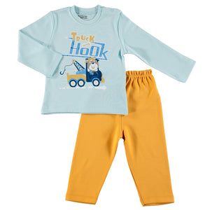 ebebek HelloBaby Printed Interlock Long Sleeve Ribbed Snap Neck Single Baby Pajama Set