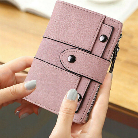 Women Wallet Leather Zip Coin Purse