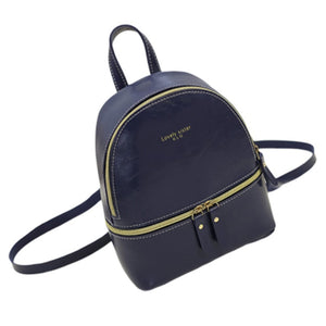 Woman Fashion Leisure Handbag Chic Backpack PU blue