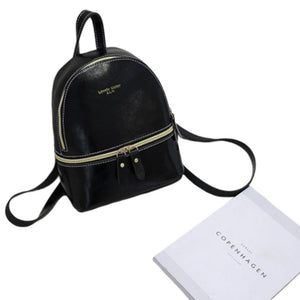 Woman Fashion Leisure Handbag Chic Backpack PU black