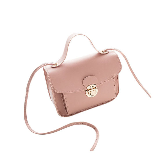Women Casual Fashion Solid Color Single Shoulder Bag Sweet Style Mini Square Bag Pink