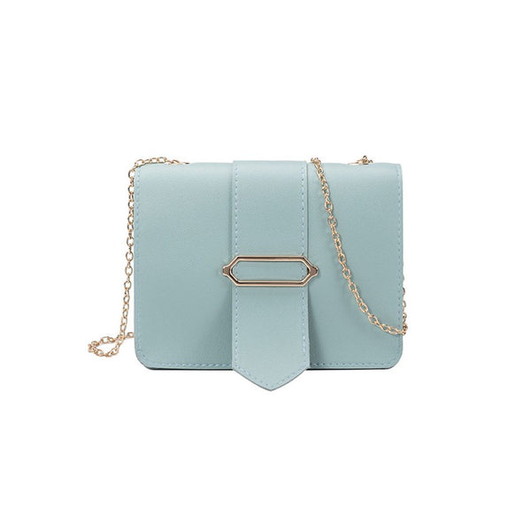 Women Fashion Chain Design Single-shoulder Crossbody Bag Casual Mini Square Bag blue