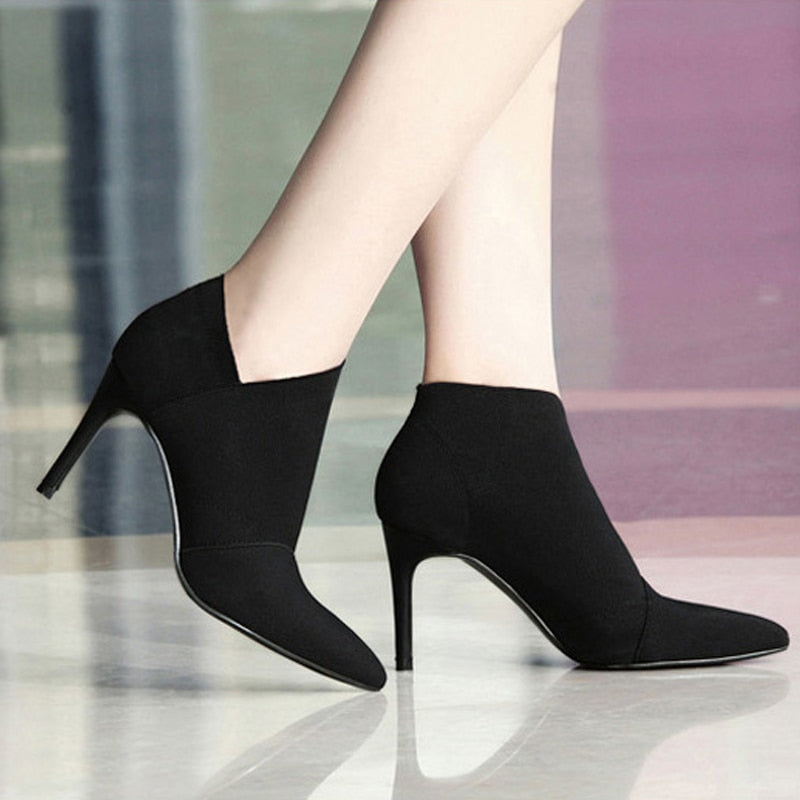 Women High Heel Booties  Large Size34-41Fashion Female High-Heeled Boots Young Ladies Fashion Booties 8.5cm Heel Cloth Boots L33