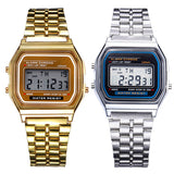 Unisex Watch Gold Silver Vintage Stainless Steel LED Sports Military Wristwatches