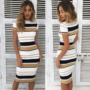 Women Red Summer Dress Sexy Sheath Striped Beach Dress