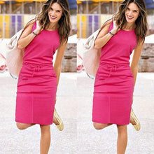 Load image into Gallery viewer, New Summer Sleeveless Summer Beach Casual Solid Color Elegant Party Dress
