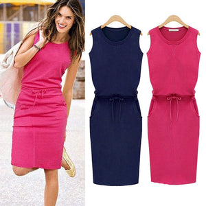 New Summer Sleeveless Summer Beach Casual Solid Color Elegant Party Dress