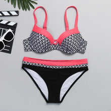 Load image into Gallery viewer, Women's Swimsuit Fusion Padded Push up Bra Bikini Set Bathing Suit
