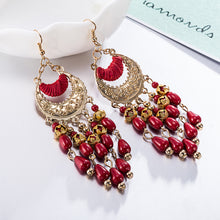 Load image into Gallery viewer, European and American fashion exaggerated long fringed resin earrings retro FSE048