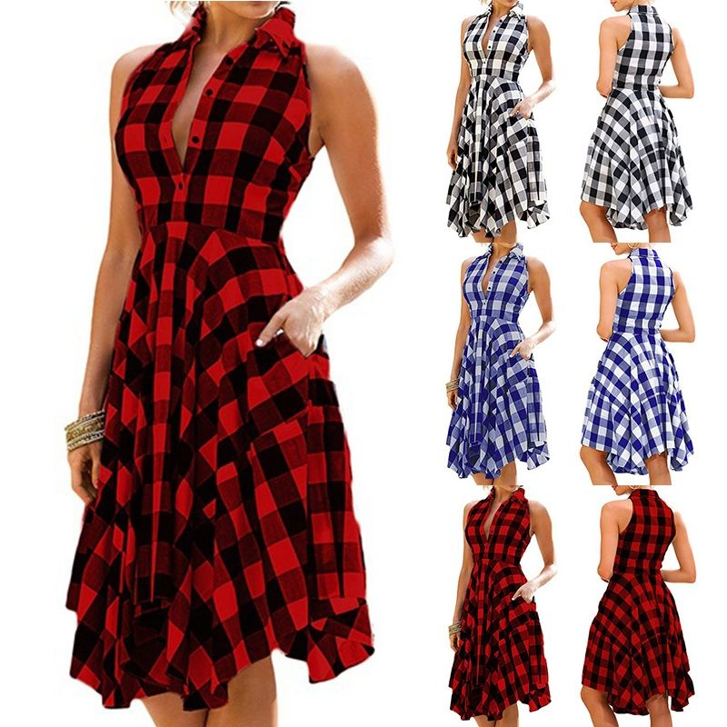 New Fashion Women Sleeveless Plaid Dess Vintage
