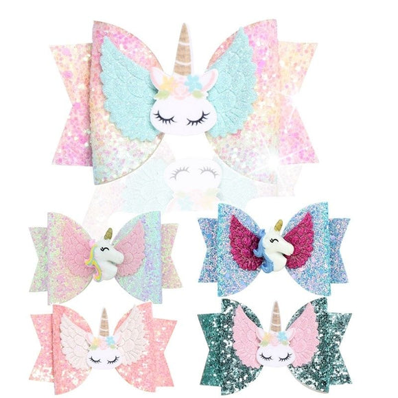 Fashion Cute Unicorn Hair Bows Bowknot For Girls