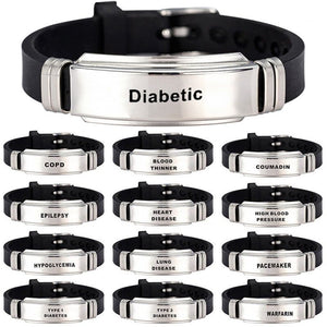 Stainless Steel Bracelets & Bangles Type 1/2 Diabetes Allergy Epilepsy Alzheime Emergency Jewelry Gifts For Unisex Women Men