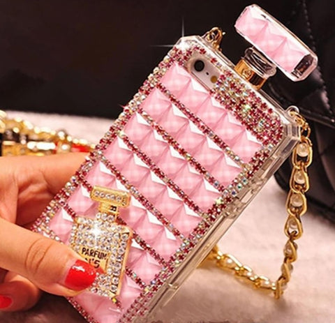 For iPhone 6s Perfume Bottle Diamond Mobile Phone Case Lanyard Case 5S Rhinestone Mobile Phone Case with Opp Package