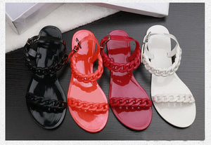 New plastic chain beach shoes candy color jelly sandals chain flat bottomed out sandals Europe and the United States Top Quality free shippi
