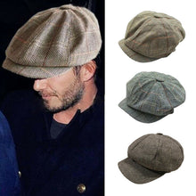 Load image into Gallery viewer, Vintage Newsboy Cap Men Octagonal Hat Casual Navy Plaid Spring New Korean Painters Beret