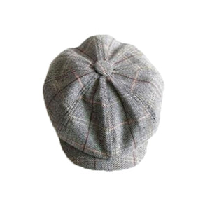 Vintage Newsboy Cap Men Octagonal Hat Casual Navy Plaid Spring New Korean Painters Beret