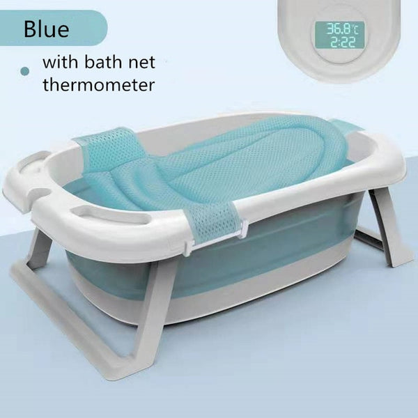 Foldable Baby Shower Tub with Thermometer Smart Temperature sensing Infant Bath Tubs