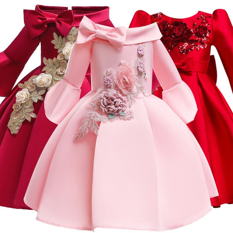 Winter Girls Dress Embroider Kids Dresses For Girls