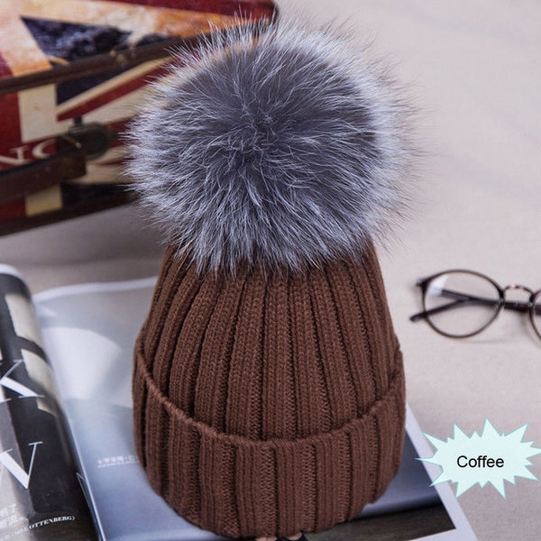 Hot Sale Winter Women Pom Pom Beanies Warm Knitted Bobble Girl Fur Pompom Hats Real Raccoon Fur Pompon Casual Hat Cap