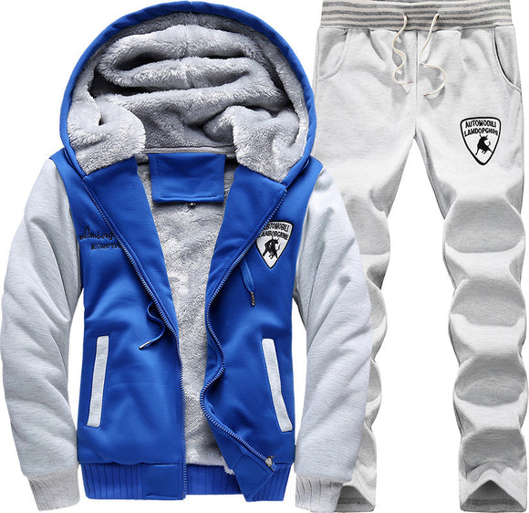 New Style Trend Hooded Youth Sports Set Men's Autumn & Winter Brushed And Thick MEN'S Sportswear Casual Two-Piece Set