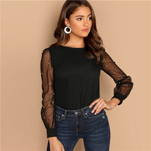Load image into Gallery viewer, Sheinside Black Women Blouse Pearl Beaded Mesh Sleeve Top Ladies Long Sleeve Shirts Elegant Womens Clothing Tops And Blouses