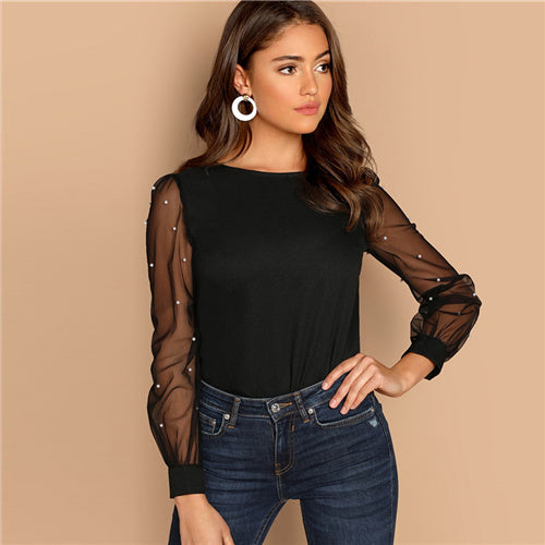 Sheinside Black Women Blouse Pearl Beaded Mesh Sleeve Top Ladies Long Sleeve Shirts Elegant Womens Clothing Tops And Blouses