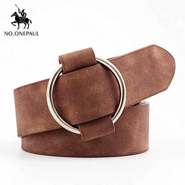 NO.ONEPAUL female deduction side gold buckle jeans wild belts for women fashion students simple New Circle Pin Buckles Belt