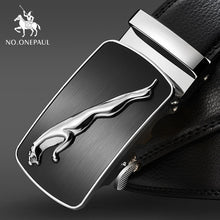 Load image into Gallery viewer, NO.ONEPAUL Brand Fashion Automatic Buckle Black Genuine Leather Belt Men's Belts Cow Leather Belts for Men 3.5cm Width WQE789