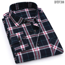 Load image into Gallery viewer, Men Flannel Plaid Shirt 100% Cotton 2019 Spring Autumn Casual Long Sleeve Shirt Soft Comfort Slim Fit Styles Brand Man Plus Size